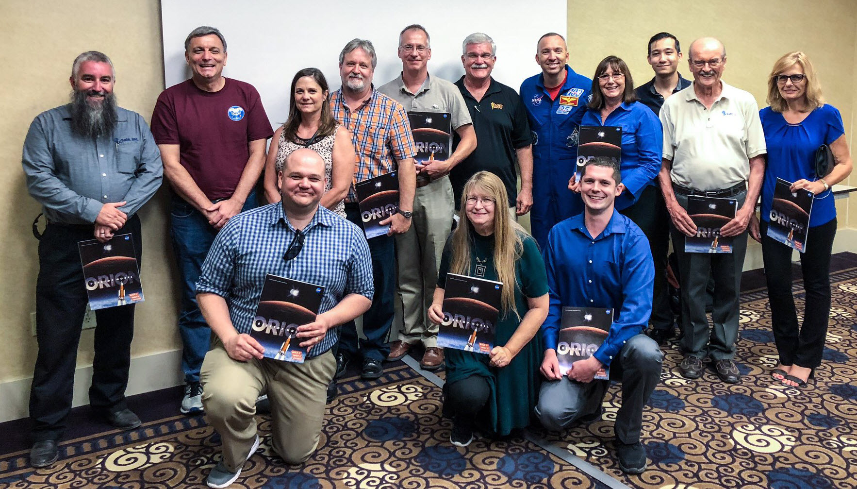 Safe team with NASA Orion Program Manager Mark Kirasich (back row, second from left) and NASA astronaut Randy Breznik (back row, fifth from right), at a special NASA/YPG meet and greet, the day before the Orion parachute drop testing | Photo credit: NASA